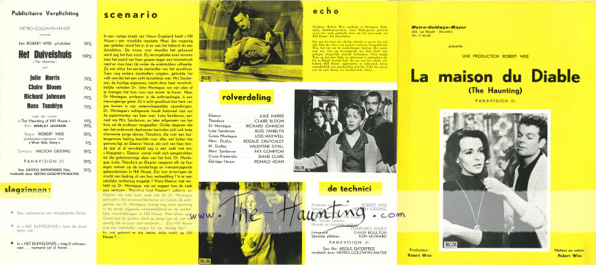 The Haunting, 1963, MGM Belgium, 3-fold, 2-sided bilingual booklet, french front