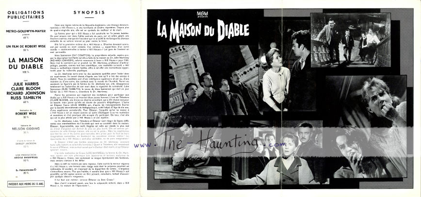 The Haunting, 1963, MGM France, 3-fold, 2-sided booklet, back