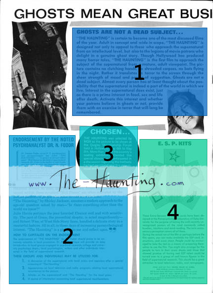 The Haunting, 1963, MGM USA, Campaign book, page 10, layout description